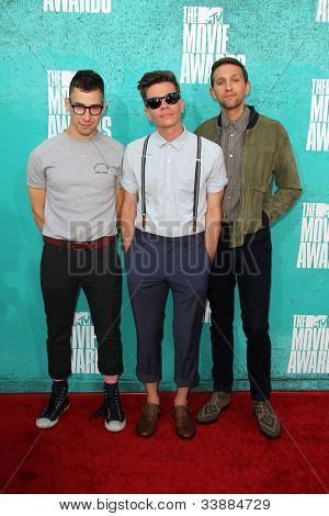 LOS ANGELES - JUN 3:  Jack Antonoff, Nate Ruess and Andrew Dost of Fun arriving at the 2012 MTV Movie Awards at Gibson Ampitheater on June 3, 2012 in Los Angeles, CA