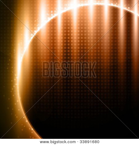 Orange-brown light effects on metal pattern design - vector background