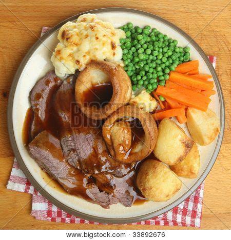Traditional British Sunday roast beef dinner