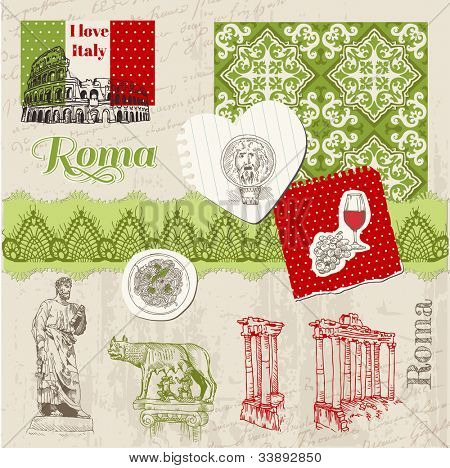 Scrapbook Design Elements - Vintage Italy doodle Set - hand drawn in vector