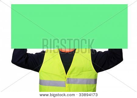 Portrait of a worker with green publicity board, isolated on white background