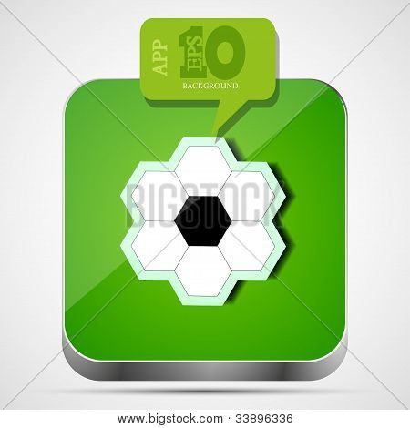 Vector Football App Icon With Green Bubble Speech.