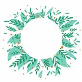 Round Frame With Flat Foliage, Berries And Place For Text. Turquoise Branches With Foliage. Greeting poster