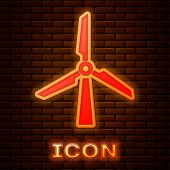 Glowing Neon Wind Turbine Icon Isolated On Brick Wall Background. Wind Generator Sign. Windmill Silh poster