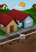 Постер, плакат: Сливной системы дом