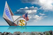 Us Dollar Symbol, 3d Illustration, Sinking Aboard Of A Paper Boat With The United States Of America  poster