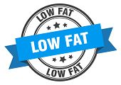 Low Fat Label. Low Fat Blue Band Sign. Low Fat poster
