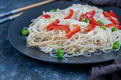 Seswan Rice Noodles Or Hakka Or Chow Main Vegetable Noodles. In-demand Indochinese Recipes Served In poster