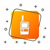 White Walkie Talkie Icon Isolated On White Background. Portable Radio Transmitter Icon. Radio Transc poster