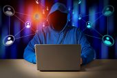 Computer Hacker Steals Data From Laptop. Theft Of Personal Data And Computer Crimes poster