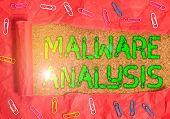 Conceptual Hand Writing Showing Malware Analysis. Business Photo Showcasing Performs Deep Analysis O poster