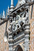 Doge`s Palace Detail, Venice, Italy. Famous Palazzo Ducale Is One Of The Top Landmarks Of Venice. Be poster