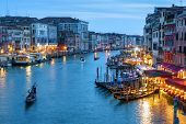 Venice At Night, Italy. Scenery Of The Grand Canal In Evening. Nightlife In Waterfronts Of Venice In poster