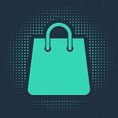 Green Handbag Icon Isolated On Blue Background. Shoping Bag Sign. Woman Bag Icon. Female Handbag Sig poster