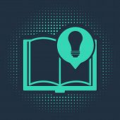 Green Interesting Facts Icon Isolated On Blue Background. Book Or Article And Light Bulb. Abstract C poster