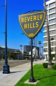 BEVERLY HILLS, US -  OCTOBER 16: A Beverly Hills sign in Wilshire Boulevard on October 16, 2011 in B