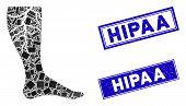 Mosaic Deep Vein Thrombosis Icon And Rectangle Hipaa Stamps. Flat Vector Deep Vein Thrombosis Mosaic poster