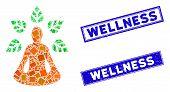 Mosaic Ioga Wellness Icon And Rectangular Wellness Seals. Flat Vector Ioga Wellness Mosaic Icon Of S poster