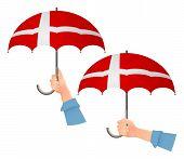 Denmark Flag Umbrella. Social Security Concept. National Flag Of Denmark  Illustration poster