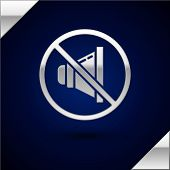 Silver Speaker Mute Icon Isolated On Dark Blue Background. No Sound Icon. Volume Off Symbol. Vector  poster