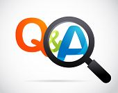 stock photo of guess  - magnifying glass with question and answer - JPG