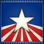 foto of parade  - Center star on blue background with red and beige stripes with outer frame of 50 little stars on blue forming an USA patriotic themed background - JPG