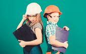 Kids Girls Planning Renovation. Initiative Children Girls Provide Renovation Their Room Green Backgr poster