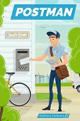 Postman Puts Letter Into Mail Box, Address Delivery. Vector Mailman Outdoors, Post Office Workers De poster