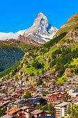 Zermatt Town And Matterhorn Mountain Aerial Panoramic View In The Valais Canton Of Switzerland poster