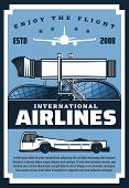 International Airlines, Retro Airport Building, Flight By Air. Vector Movable Passenger Boarding Ram poster