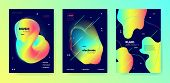 Vivid Music Flyer. Minimal Layout. Electronic Club Festival. Multicolor 3d Fluid Template. Trendy Mu poster