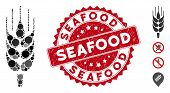 Mosaic Barley Ear Icon And Distressed Stamp Seal With Seafood Text. Mosaic Vector Is Designed With B poster