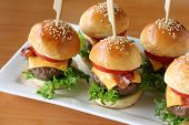 stock photo of beef-burger  - mini hamburgers - JPG