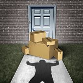 Package Theft And Porch Pirate Thief Stealing Packages From A Home Delivered To A Front Door As A Bu poster