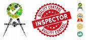 Collage Quality Control Icon And Rubber Stamp Seal With Quality Control Inspector Text. Mosaic Vecto poster