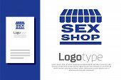 Blue Sex Shop Building With Striped Awning Icon Isolated On White Background. Sex Shop, Online Sex S poster