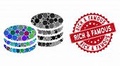 Mosaic Coins And Distressed Stamp Seal With Rich And Famous Caption. Mosaic Vector Is Formed From Co poster