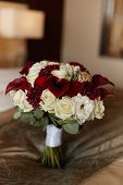 Lush Bridal Bouquet Of Exotic Flowers, Closeup, Blurred Background. Concept Wedding Postcard. Luxury poster