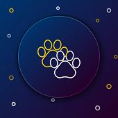 White And Yellow Line Paw Print Icon Isolated On Dark Blue Background. Dog Or Cat Paw Print. Animal  poster