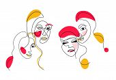 Set Of Abstract Women Face One Line Drawing. Portrait Minimalistic Style. Fine One Line Drawing Abst poster