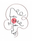 Set Of Five Abstract Face One Line Drawing. Portrait Minimalistic Style. Fine One Line Drawing Abstr poster