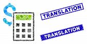 Mosaic Accounting Pictogram And Rectangle Translation Seal Stamps. Flat Vector Accounting Mosaic Pic poster