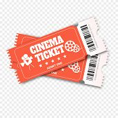 Two Cinema Vector Tickets. Realistic Front View Illustration. Close Up Top View On Two Designed Movi poster