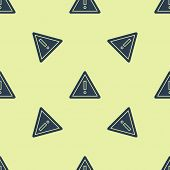 Blue Exclamation Mark In Triangle Icon Isolated Seamless Pattern On Yellow Background. Hazard Warnin poster