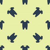 Blue Baby Clothes Icon Isolated Seamless Pattern On Yellow Background. Baby Clothing For Baby Girl A poster