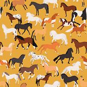 Horses Seamless Pattern Flat Vector Illustration. Mare And Stallion Of Different Breeds On Yellow Ba poster