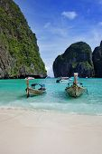 Long tail boats in Maya Bay, Koh Phi Phi Ley, Thailand. The place where the movie the Beach was film