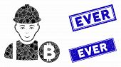 Mosaic Bitcoin Miner Pictogram And Rectangle Ever Rubber Prints. Flat Vector Bitcoin Miner Mosaic Pi poster