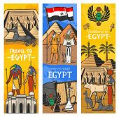 Ancient Egypt Gods And Landmarks, Vector Banners, Egypt Travel And Tourism Sightseeing. Cairo Pharao poster