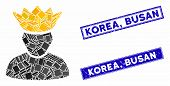 Mosaic Forum Administrator Pictogram And Rectangle Korea, Busan Seals. Flat Vector Forum Administrat poster